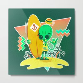 Alien Surfer Nineties Pattern Metal Print