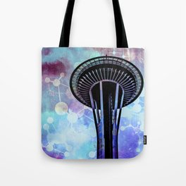 Space Needle - Seattle Stars Clouds Fog Tote Bag