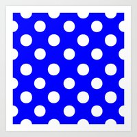 polka dots Art Prints featuring Polka Dots (White/Blue) by 10813 Apparel