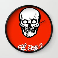 evil dead Wall Clocks featuring Evil Dead 2 - Red by Dukesman