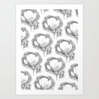Poppy Flower Pattern Art Print
