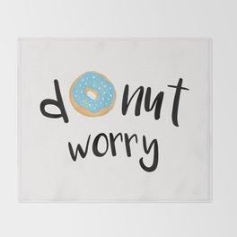 Donut Worry Blue Throw Blanket