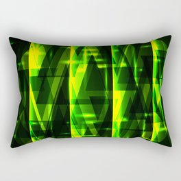 Luxurious green stripes and metallic triangles of blades of grass create abstraction and glow. Rectangular Pillow