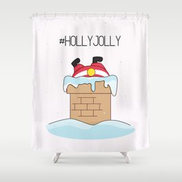 Holly jolly  Santa Shower Curtain