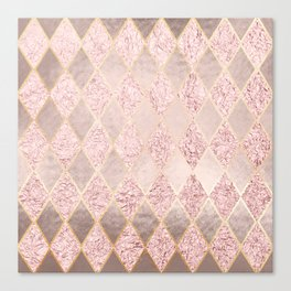 Blush Rose Gold Glitter Argyle Canvas Print