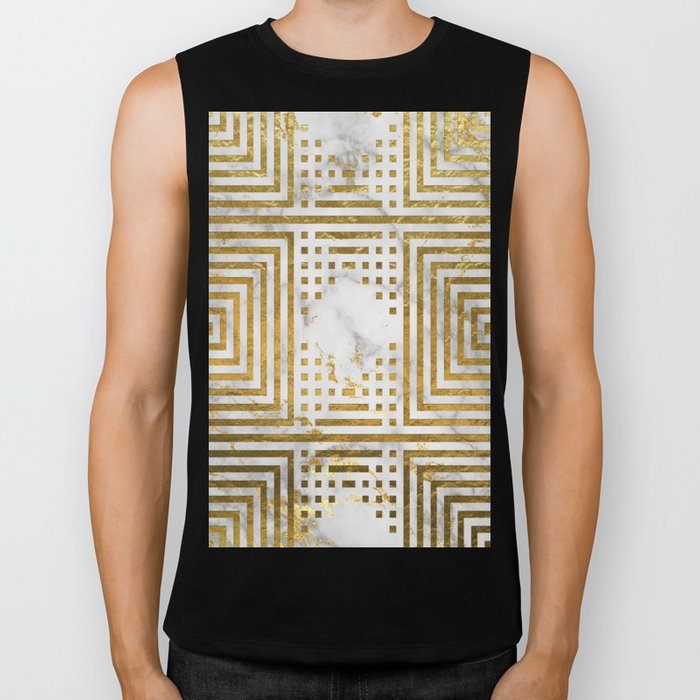 Marble and Gold Pattern #2 Biker Tank