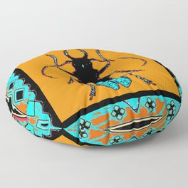 Black Turquoise Stag horn Beetle Western Art Abstract Floor Pillow