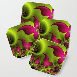 Fantasy Neon Flowers Fractal Coaster