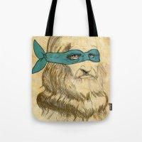 leonardo Tote Bags featuring Leonardo by Nick Rees Illustration