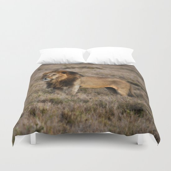 African Lion in Kenya Duvet Cover