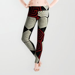 Colour Pop Pentagons - Red & Cream Leggings