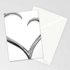 silver heart Stationery Cards