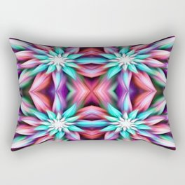 Colorful Mirrored Flowers Rectangular Pillow