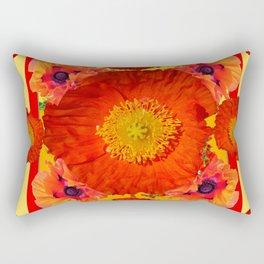 YELLOW-RED POPPIES GARDEN ART YELLOW PATTERNS Rectangular Pillow