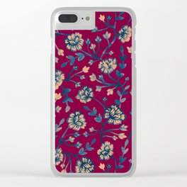 Watercolor Peonies - Ruby Red Clear iPhone Case