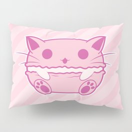 Pink Kawaii Cat Macaroon Pillow Sham