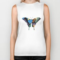 butterflies Biker Tanks featuring Butterflies by brushnpaper