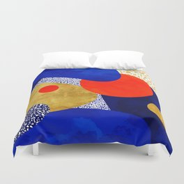 Terrazzo galaxy blue night yellow gold orange Duvet Cover