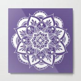 Ultraviolet Flower Mandala Metal Print