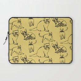 Minimal Black Line Cat Pattern Yellow Laptop Sleeve
