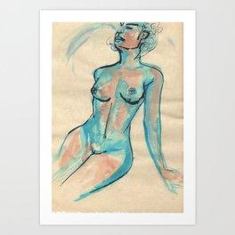 Portrait in blue Art Print