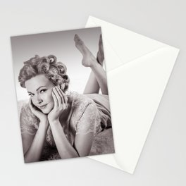 """Curlers Before Bed"" - The Playful Pinup - Lounging in Lace Pin-up Girl by Maxwell H. Johnson Stationery Cards"