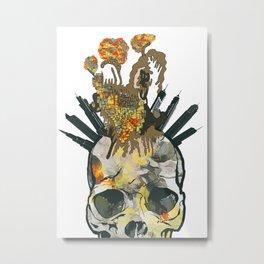 Skull and crazy city Metal Print