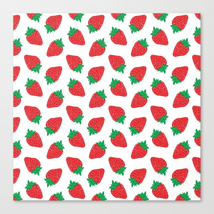 Cream Strawberries Pattern Canvas Print