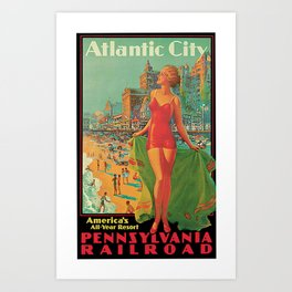 Atlantic city vintage bathing beauty Art Print
