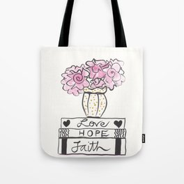 Faith, Hope Love Book Stack and Flowers Tote Bag