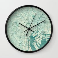 vintage map Wall Clocks featuring Tokyo Map Blue Vintage by City Art Posters