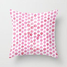Pink Polka Dot Watercolour Throw Pillow