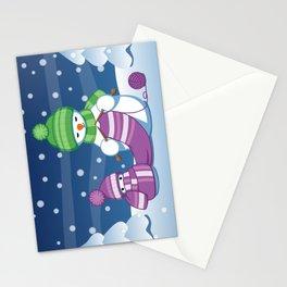 Crafty Snowman Knitting Scarf Stationery Cards