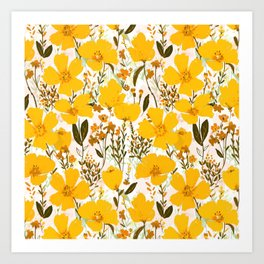 Yellow roaming wildflowers Art Print