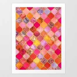 Hot Pink, Gold, Tangerine & Taupe Decorative Moroccan Tile Pattern Art Print