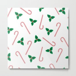 Candycanes and misletoe Metal Print