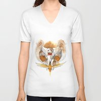hedwig V-neck T-shirts featuring Potter Hedwig Owl by Rubis Firenos
