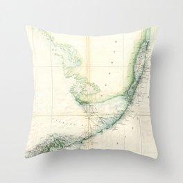 Vintage Map of The Florida Keys (1859) Throw Pillow