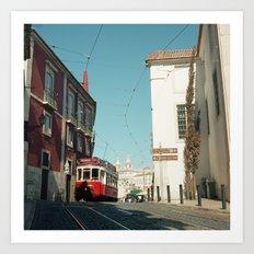 Lisbon red tram, Portugal Analog 6x6 Kodal Ektar 100 (RR 165) Art Print