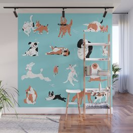 Dogs, Dogs, Dogs, Blue Wall Mural