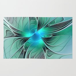 Abstract With Blue 2, Fractal Art Rug