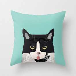 Black and White Cat - cat lady art, cat art, cats, black and white cat Throw Pillow