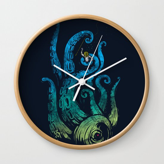Undersea attack (neon ver.) Wall Clock