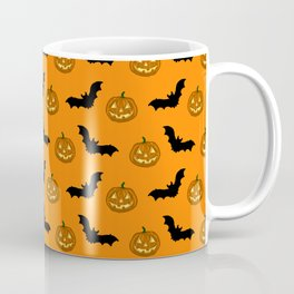 Halloween pumpkins and black bats. Coffee Mug