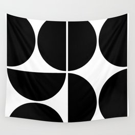 Mid Century Modern Black Square Wall Tapestry