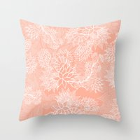 aelwen Throw Pillows featuring Chic hand drawn floral pattern on pink blush by Girly Trend