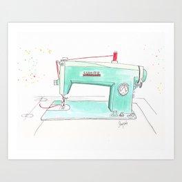 Vintage White 43-8 Sewing Machine in Aqua Art Print