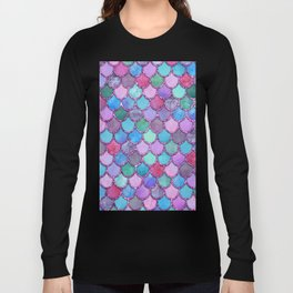 Colorful Pink Glitter Mermaid Scales Long Sleeve T-shirt