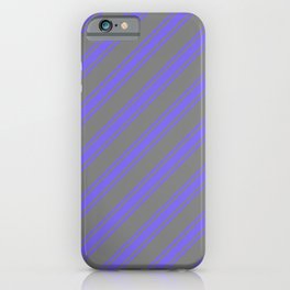 Gray and Medium Slate Blue Colored Pattern of Stripes iPhone Case