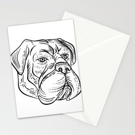 Bullmastiff Head Black and White Etching Stationery Cards